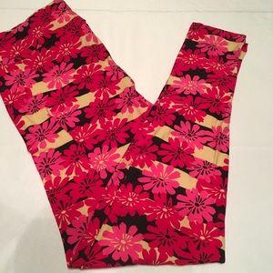 Lularoe Leggings TC blk/tan stripes & floral